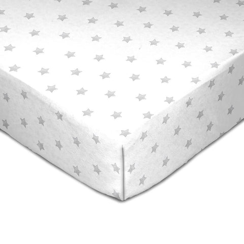 Living Textiles Muslin Crib Sheet Grey Stars