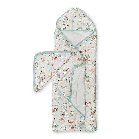 Loulou Lollipop Hooded Towel And Washcloth Set Llama