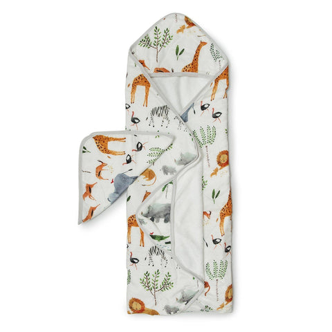 Loulou Lollipop Hooded Towel  And Washcloth Set Safari