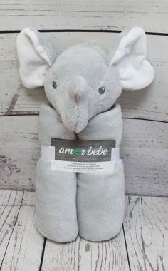 Amor Bebe Jumbo Security Blanket Grey Elephant