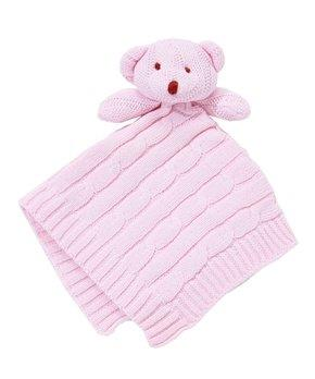 Baby Mode Lovey Cable Knit Bear Pink
