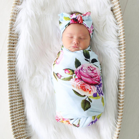 Posh Swaddle and Headwrap Set Country Rose