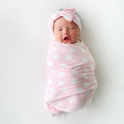 Posh Peanut Swaddle and Headwrap Set Pink Polka Dots