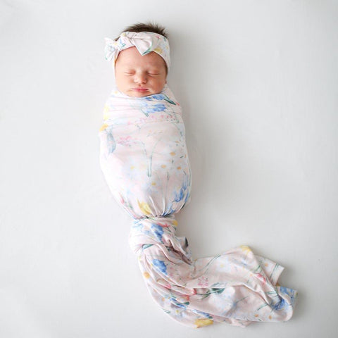 Posh Peanut Swaddle and Headwrap Set Wild Spring