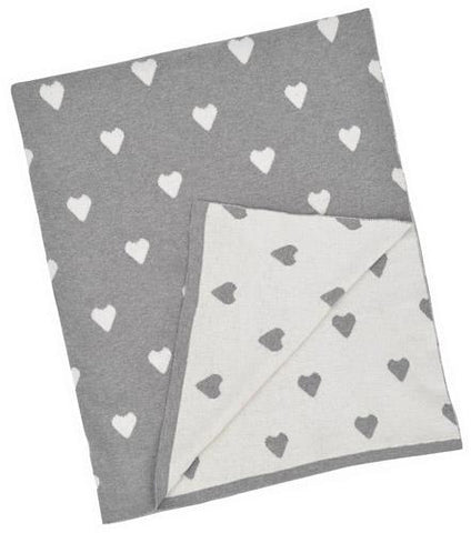 Merben Blanket Multi-heart Reversible Grey