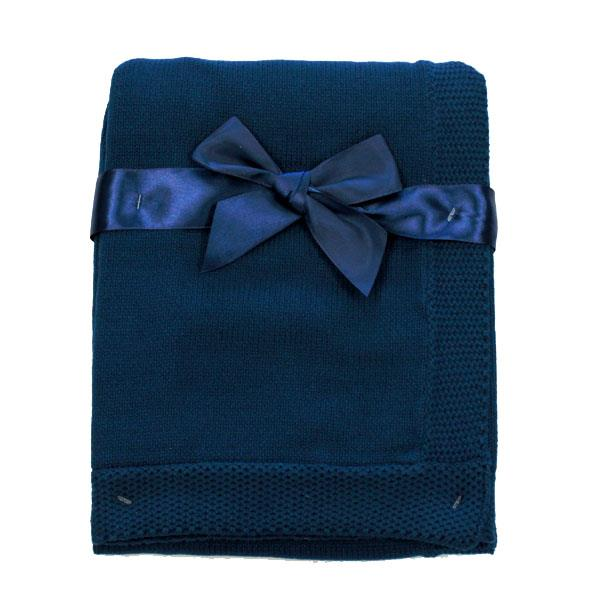 Tots Fifth Avenue Blanket With Border Navy
