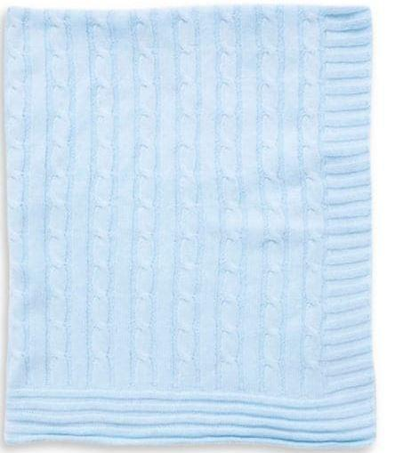 Tots Fifth Avenue Cable Knit Blanket Light Blue