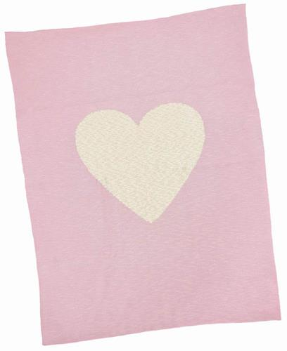 Merben Blanket With White Heart Pink