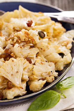 Baked Cauliflower with ChardonayZyn® Dried Grapes & Capers