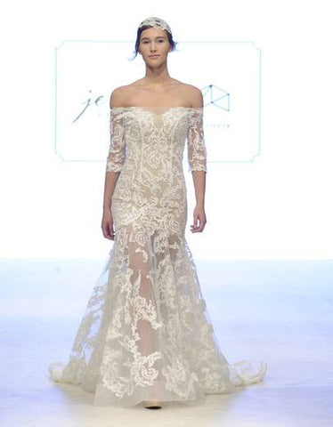 BD13 - Full Sheer Lace Bridal Dress