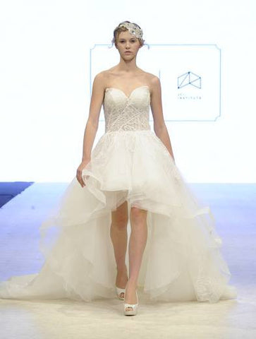 BD08 - Hi-Low Corset Top Wedding Gown with Train
