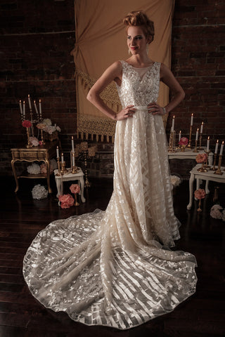 BD22 - Champagne Toned Low V Back Wedding Dress