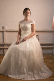 BD07 - Beaded princess Gown with Cap Sleeves