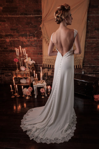 BD17 - Romantic Low Back Jersey Wedding Dress