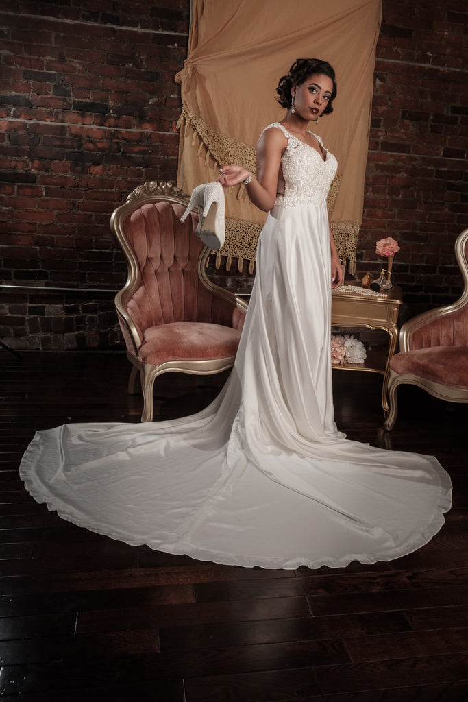 BD18 - Illusion Back Satin Wedding Dress