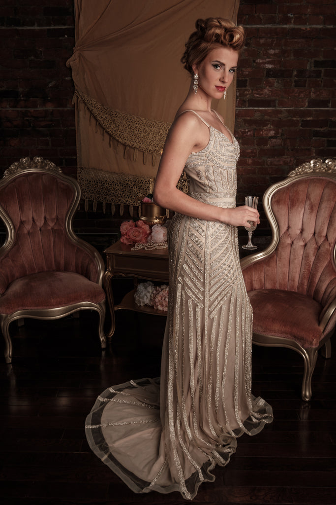 EV01 - Champagne Gold Sparkling Evening Dress