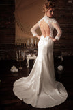 BD16 - Long Sleeves Open Back Wedding Dress