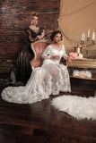 BD25 - Long Sleeves Sheer Lace Wedding Dress with Low Back
