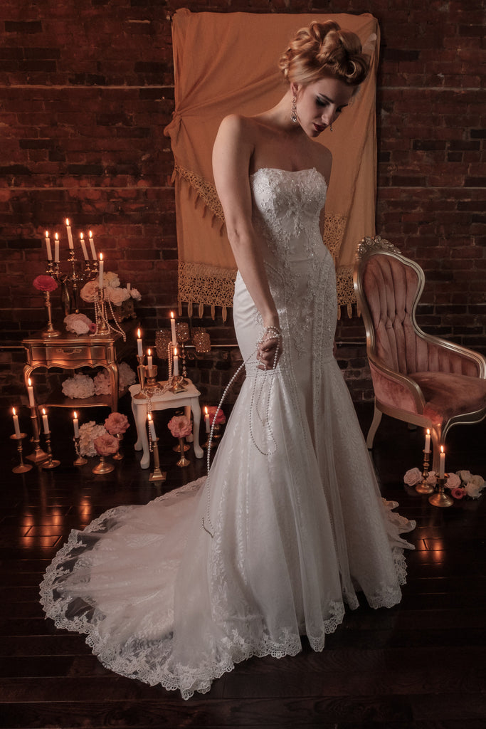 BD19 - Blush Toned Sweetheart Trumpet Wedding Gown