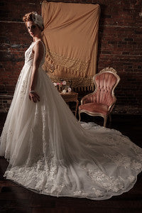 BD23 - Double V Mesh and Lace Wedding Gown