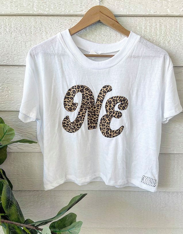 CHEETAH NE - WHITE CROP TEE