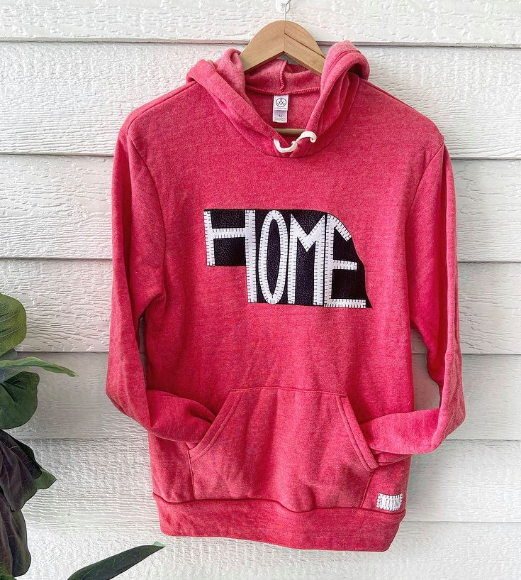 BLACK/ WHITE STATE + HOME - RED FLEECE HOODIE