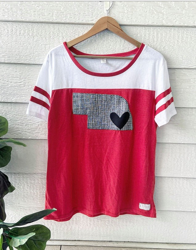 GRAPHITE STATE + HEART - RED TOUCHDOWN TEE