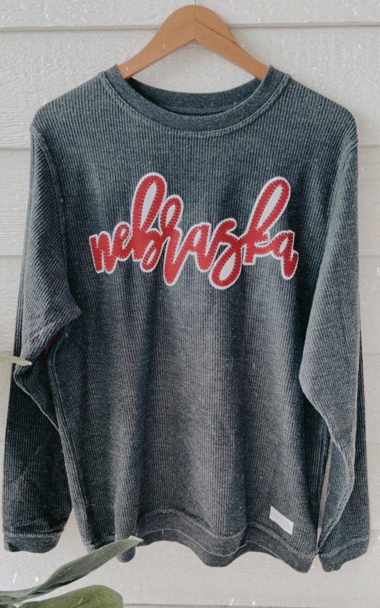MAROON/ WHITE NEBRASKA - GREY THERMAL SWEATSHIRT