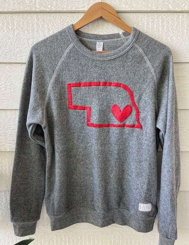 RED METALLIC STATE + HEART - GREY TEDDY CREW