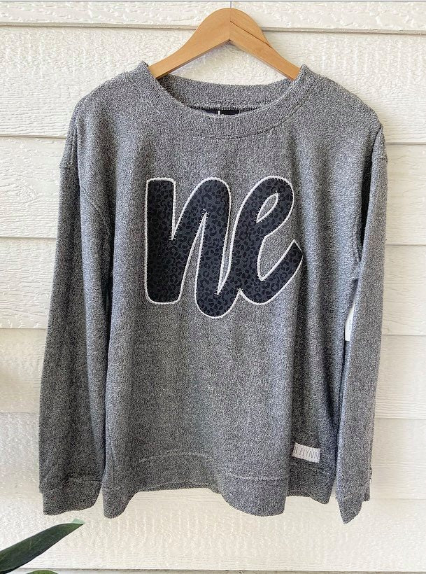 CHEETAH NE - GREY COZY CREW SWEATSHIRT