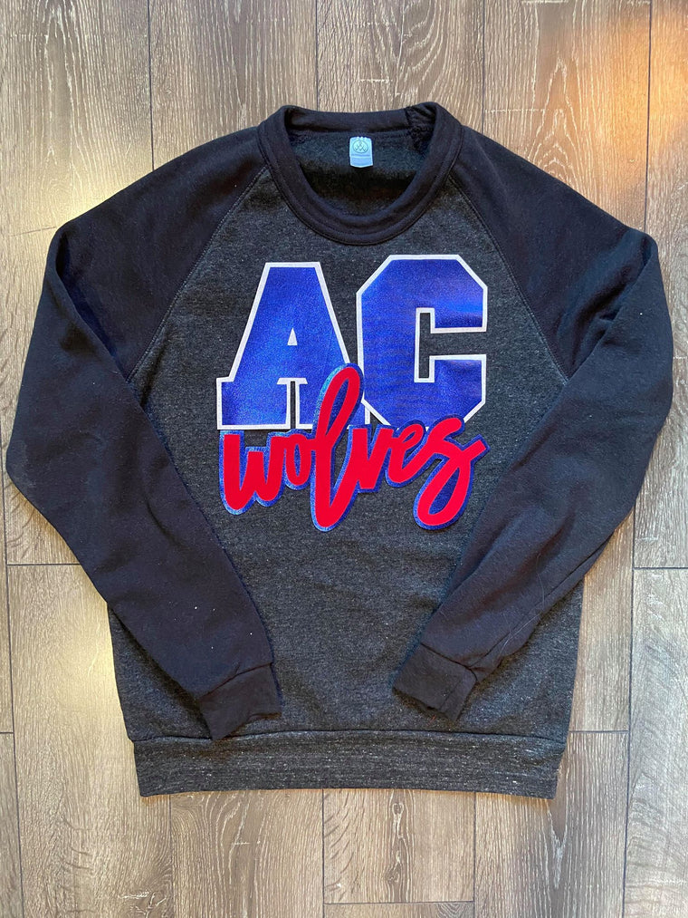 AC WOLVES - BLACK FLEECE CREW