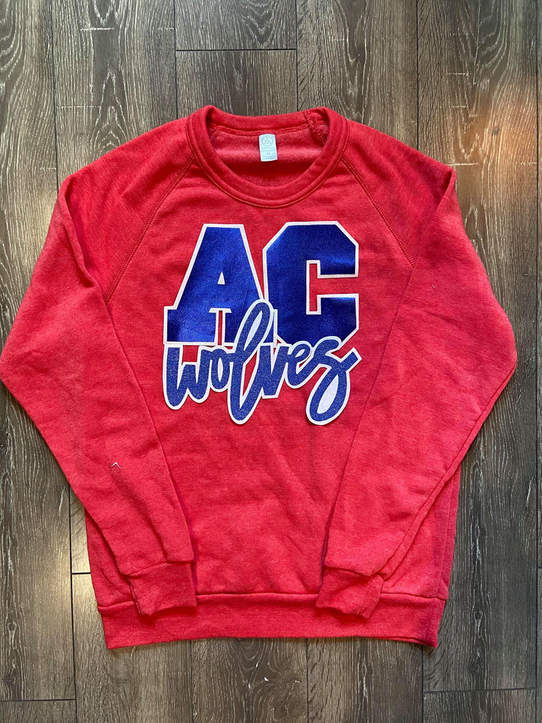 AC WOLVES - RED FLEECE CREW