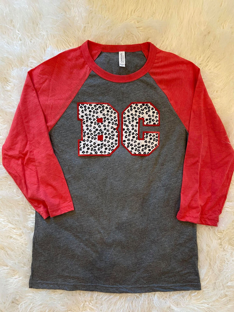 BC - RED/ GREY BASEBALL TEE