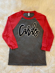 CARDS - RED/ GREY BASEBALL TEE