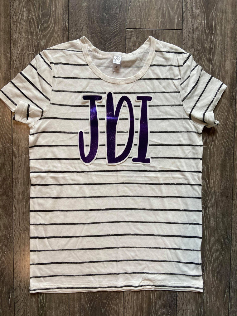 PURPLE METALLIC JDI - STRIPE TEE