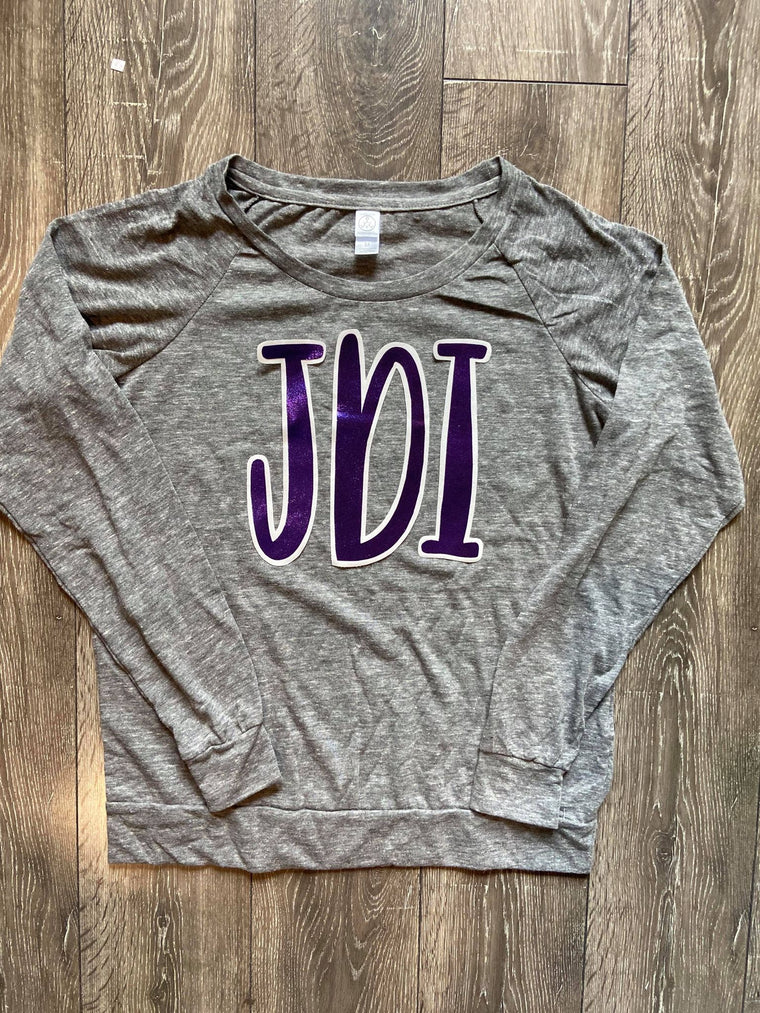 PURPLE METALLIC JDI - LIGHTGREY SLOUCHY PULLOVER