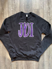 PURPLE METALLIC JDI - BLACK FLEECE CREW