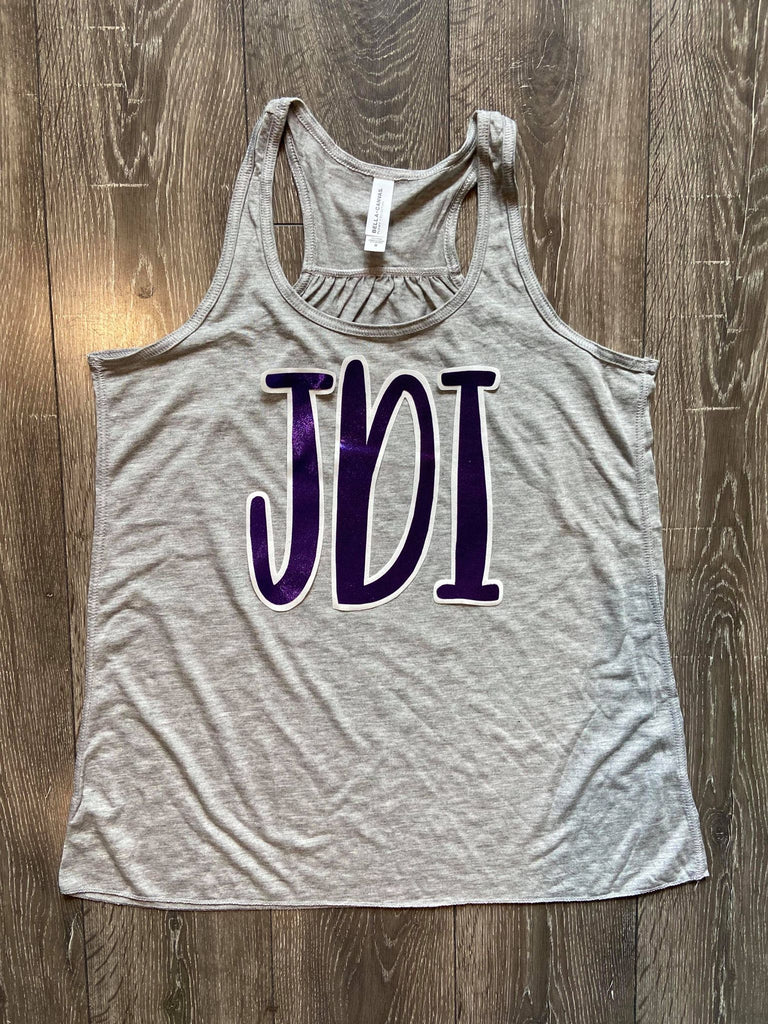 PURPLE METALLIC JDI - GREY RACERBACK TANK