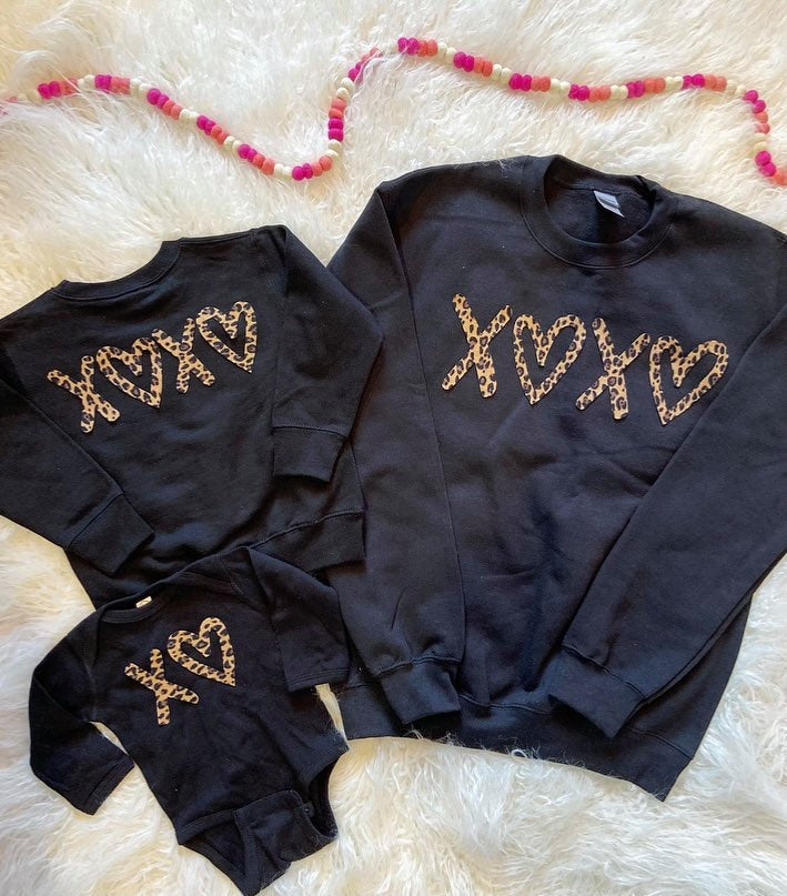 BLACK CREW - XOXO - ONESIE + TODDLER + YOUTH + ADULT