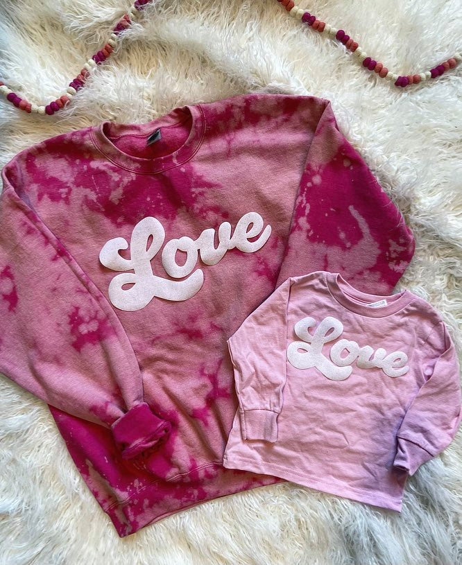 PINK DYED - LOVE - ONESIE + TODDLER + YOUTH + ADULT