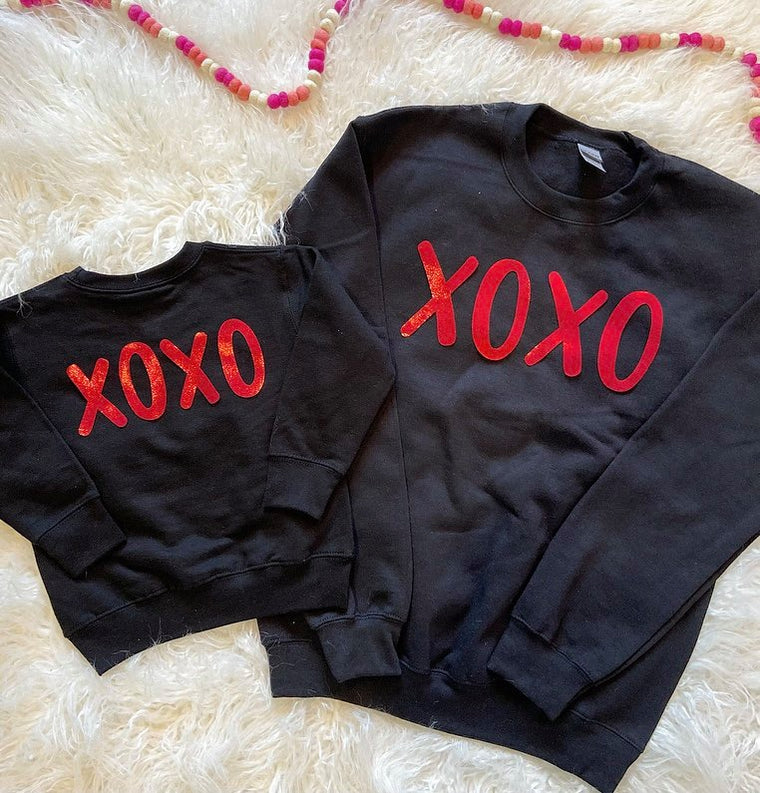 BLACK CREW - RED XOXO - ONESIE + TODDLER + YOUTH + ADULT
