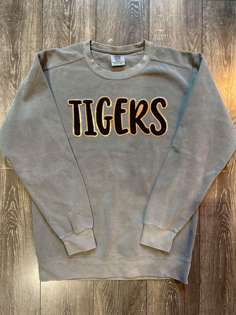 SWEET PEA TIGERS - GREY COMFORT COLORS CREW
