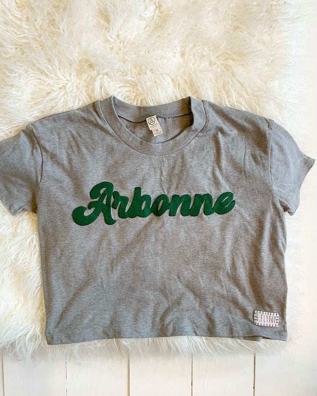 ARBONNE GREY CROP TOP TEE