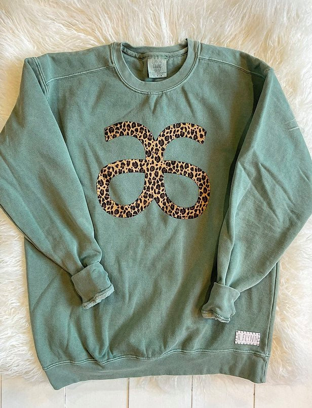 CHEETAH ARBONNE GREEN COMFORT COLORS CREW