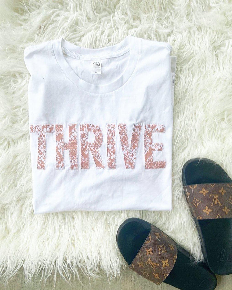 THRIVE - SNAKESKIN WHITE TEE