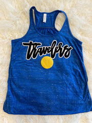 TRAVELERS + SOFTBALL - BLUE RACERBACK TANK