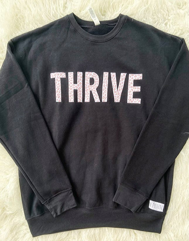THRIVE - BLACK SPONGE FLEECE CREW