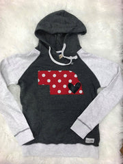 RED/ WHITE POLKA STATE AND BLACK HEART COLOR BLOCK HOODIE
