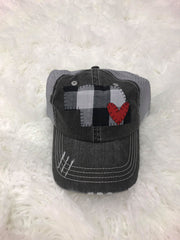 BLACK/ WHITE BUFFALO PLAID STATE AND RED HEART TRUCKER