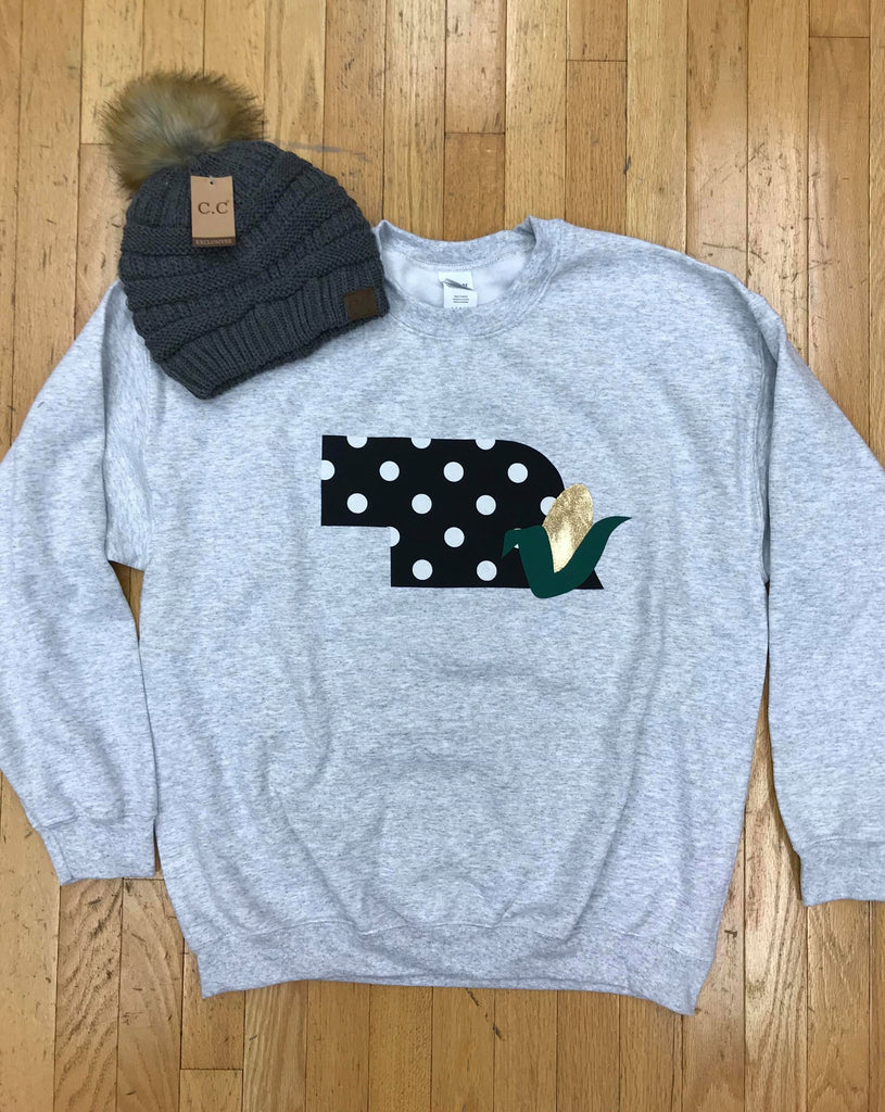 LIGHT GREY CREWNECK WITH BLACK POLKA NEBRASKA + CORN